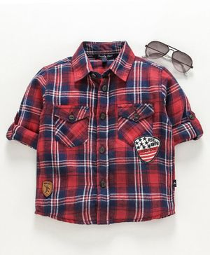 Trendy Cart Full Sleeves Logo Patch Checked Shirt - Red