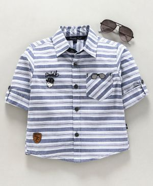 Trendy Cart Full Sleeves Stripe Pattern Glasses Patch Shirt - Blue
