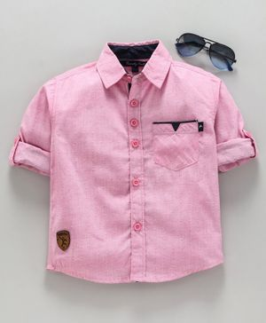 Trendy Cart Full Sleeves Solid Shirt - Pink