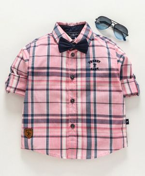 Trendy Cart Full Sleeves Checked Shirt With Bow - Pink