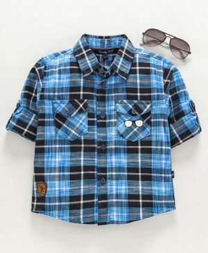 Trendy Cart Full Sleeves Two Pocket Flap Checked Shirt - Blue
