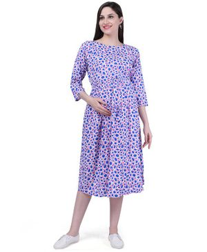 MomToBe Printed Three Fourth Sleeves Maternity & Feeding Dress - Pink & Blue
