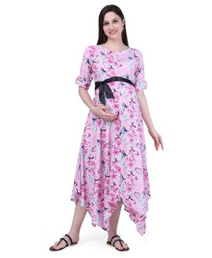 MomToBe Floral Print Three Fourth Sleeves Maternity & Feeding Dress - Pink
