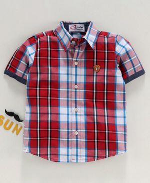 M'andy Checkered Half Sleeves Shirt - Red