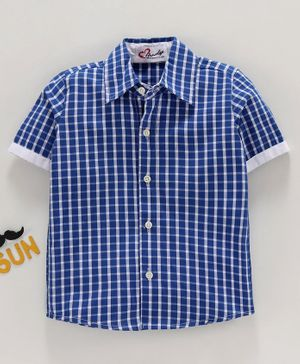 M'andy Checkered Half Sleeves Shirt - Blue