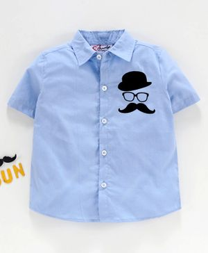 M'andy Half Sleeves Moustache Patch Shirt - Blue