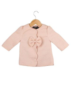 One Friday Self Design Full Sleeves Bow Detailed Top - Light Pink