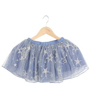 One Friday Stars Embroidered Flared Skirt - Blue