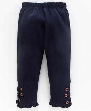 Mom's Love Full Length Leggings Ruffle Detailing - Navy Blue