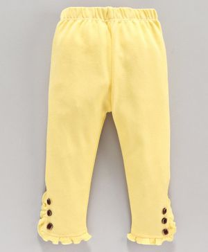 Mom's Love Full Length Leggings Ruffle Detailing - Yellow