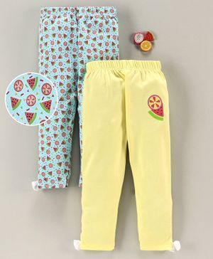Mom's Love Full Length Leggings Fruit Print - Blue Yellow