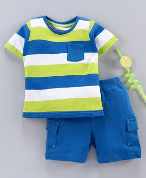 Babyhug Half Sleeves Stripe Tee and Shorts -  Blue White Green