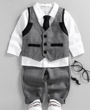 Mark & Mia 3 Piece Party Suit with Tie - Grey White