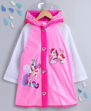 Full Sleeves Raincoat Unicorn Print - Pink