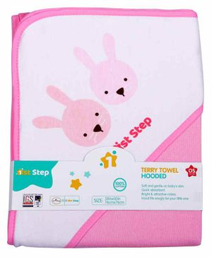 1st Step Printed Hooded Terry Towel - Pink