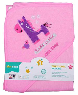 1st Step Hooded Terry Towel Horse Patch - Pink