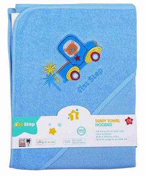 1st Step Hooded Terry Towel Truck Patch - Blue