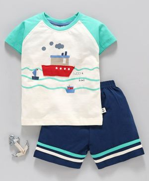 First Smile Raglan Sleeves Tee and Shorts Ship Patch - Green White