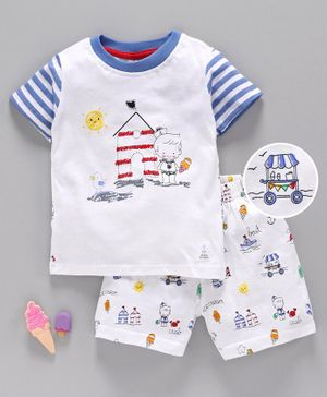 First Smile Half Sleeves Night Suit House Print - White
