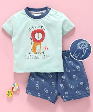 First Smile Half Sleeves Night Suit Lion Print - Light Green Blue