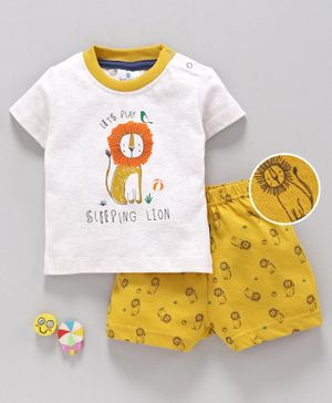 First Smile Half Sleeves Night Suit Lion Print - White Yellow