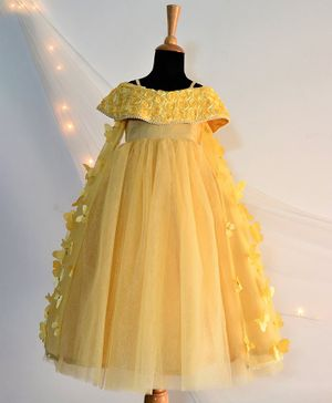 Tutus By Tutu Half Sleeves Flower & Butterfly Applique Cold Shoulder Flared Gown - Yellow