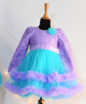 Tutus By Tutu Flower Lacey Detailing Full Sleeves Layered Dress - Purple & Blue