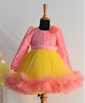 Tutus By Tutu Flower Lacey Detailing Full Sleeves Tutu Flared Dress - Peach & Yellow