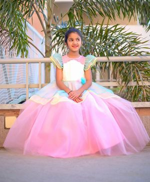 Tutus By Tutu Cap Sleeves Solid Layered Gown - Multi Colur