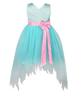Tutus By Tutu Solid Bow Detailing High Low Dress - Light Blue