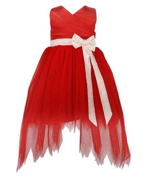 Tutus By Tutu Solid Bow Detailing High Low Dress - Red