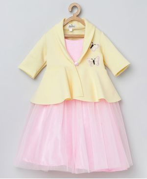 Tutus By Tutu Sleeveless Tutu Flared Gown With Butterfly Embroidery Detailing Jacket - Pink & Yellow