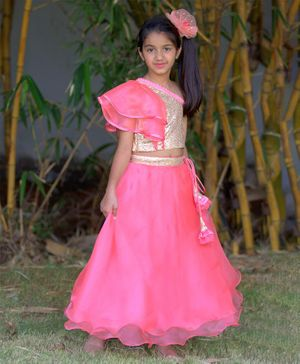 Tutus By Tutu Sleeveless Sequin Embellished One Shoulder Choli With Flared Lehenga - Pink