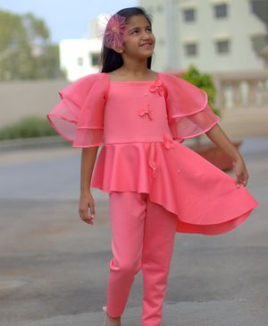 Tutus By Tutu Peplum Jumpsuit with 3D Flowers And Organza Half Sleeves- Blush Pink
