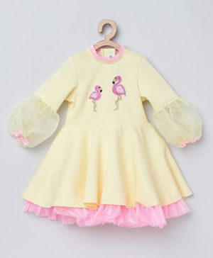 Tutus By Tutu Full Puffed Sleeves Flamingo Patch Dress - Cream