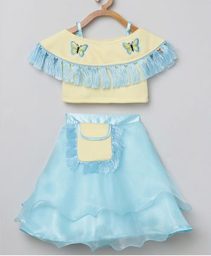 Tutus By Tutu Half Sleeves Butterfly Patch Cold Shoulder Top With Skirt - Cream Blue