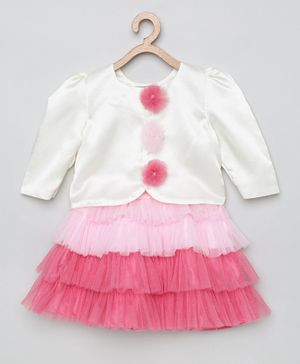 Tutus By Tutu Three Fourth Sleeves High Low Style Top With Ruffle Skirt - White Pink