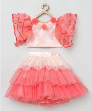 Tutus By Tutu Short Sleeves Pearl Detailed Top With Ruffle Skirt - Peach