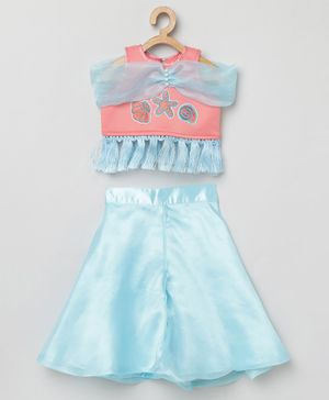 Tutus By Tutu Sleeveless Star Fish Patch Top With Flared Tassel Finish Palazzo Pants - Pink Blue