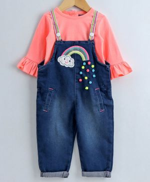 Nauti Nati Full Sleeves Top With Rainbow Embroidered Dungaree - Blue & Peach