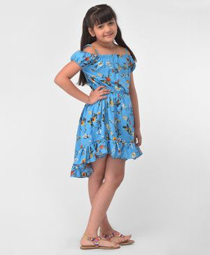 M'andy Flowers Printed Cold Shoulder Half Sleeves High Low Dress - Light Blue