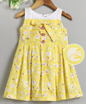 Enfance Flower Printed Sleeveless Box Pleated Dress - Yellow
