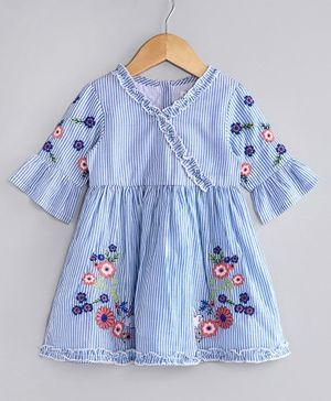 Babyoye Three Fourth Sleeves Cotton Striped Frock Floral Embroidery - Blue White