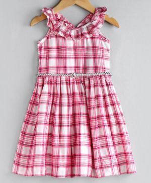 Babyoye Cotton Sleeveless Checked Frock - Pink White