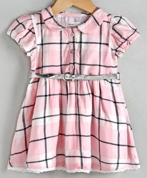 Babyoye Cotton Cap Sleeves Checked Frock with Belt - Pink
