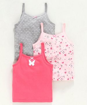 Babyoye Cotton Singlet Slips Butterfly & Dot Print Pack of 3 - Grey Pink Orange