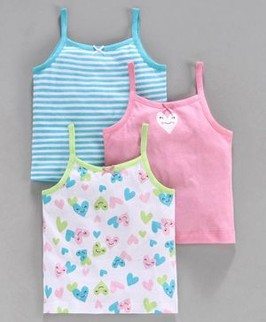 Babyoye Cotton Printed and Striped Slips Pack of 3 - Pink Blue