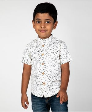 Pikaboo Polka Dot Print Half Sleeves Shirt - White