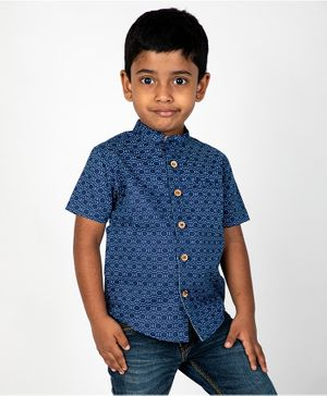 Pikaboo Half Sleeves Printed Shirt - Blue
