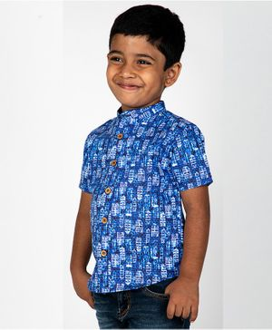 Pikaboo Half Sleeves Building Print Shirt - Blue